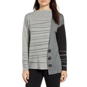 NIC+ZOE Women's Toggled Stripe Oversized Sweater L